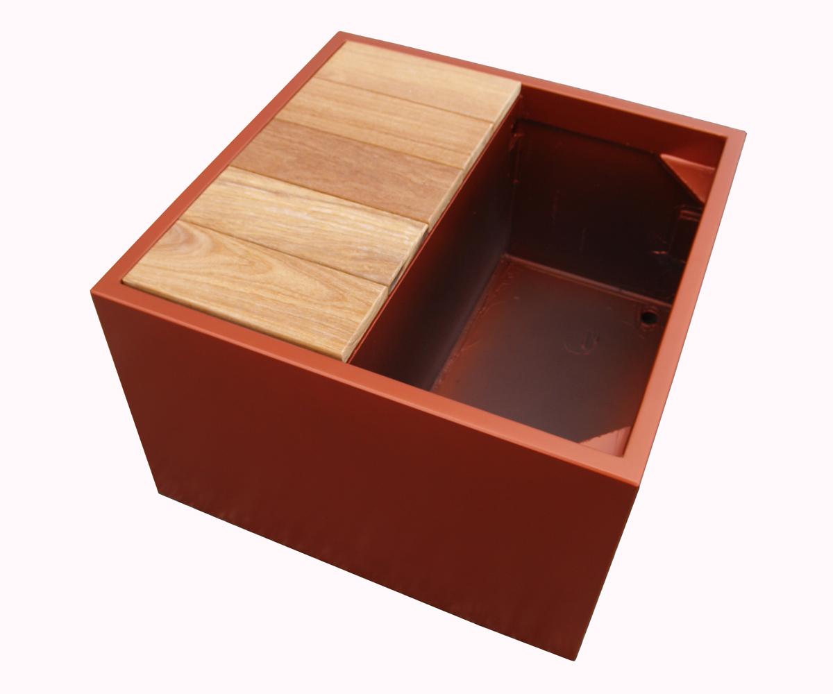 image'in - bac à plantes carré avec banquette - assise en bois exotique