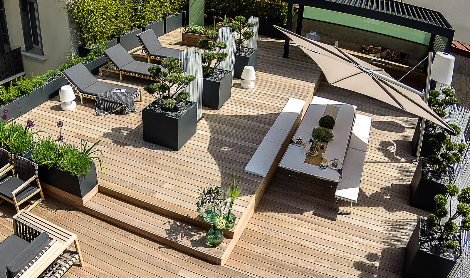 image 39 in large planters for bamboo and shrubs on rooftop terrace. Black Bedroom Furniture Sets. Home Design Ideas