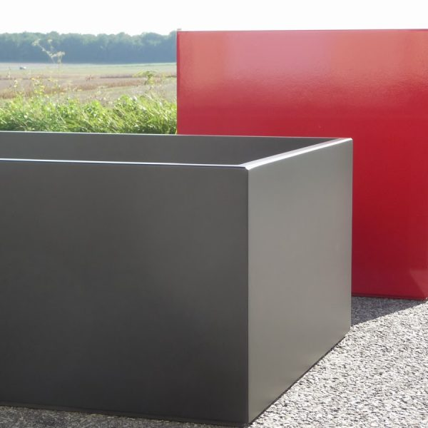 Very Large Planters Carmine Red And Black Zinc Atelier So