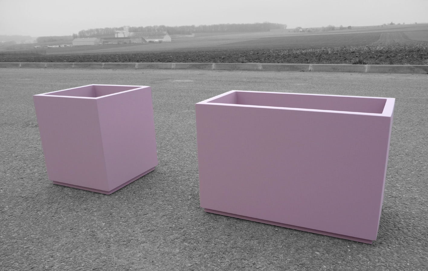Small pink / pastel violet custom planters - ATELIER SO GREEN : Bacs ...