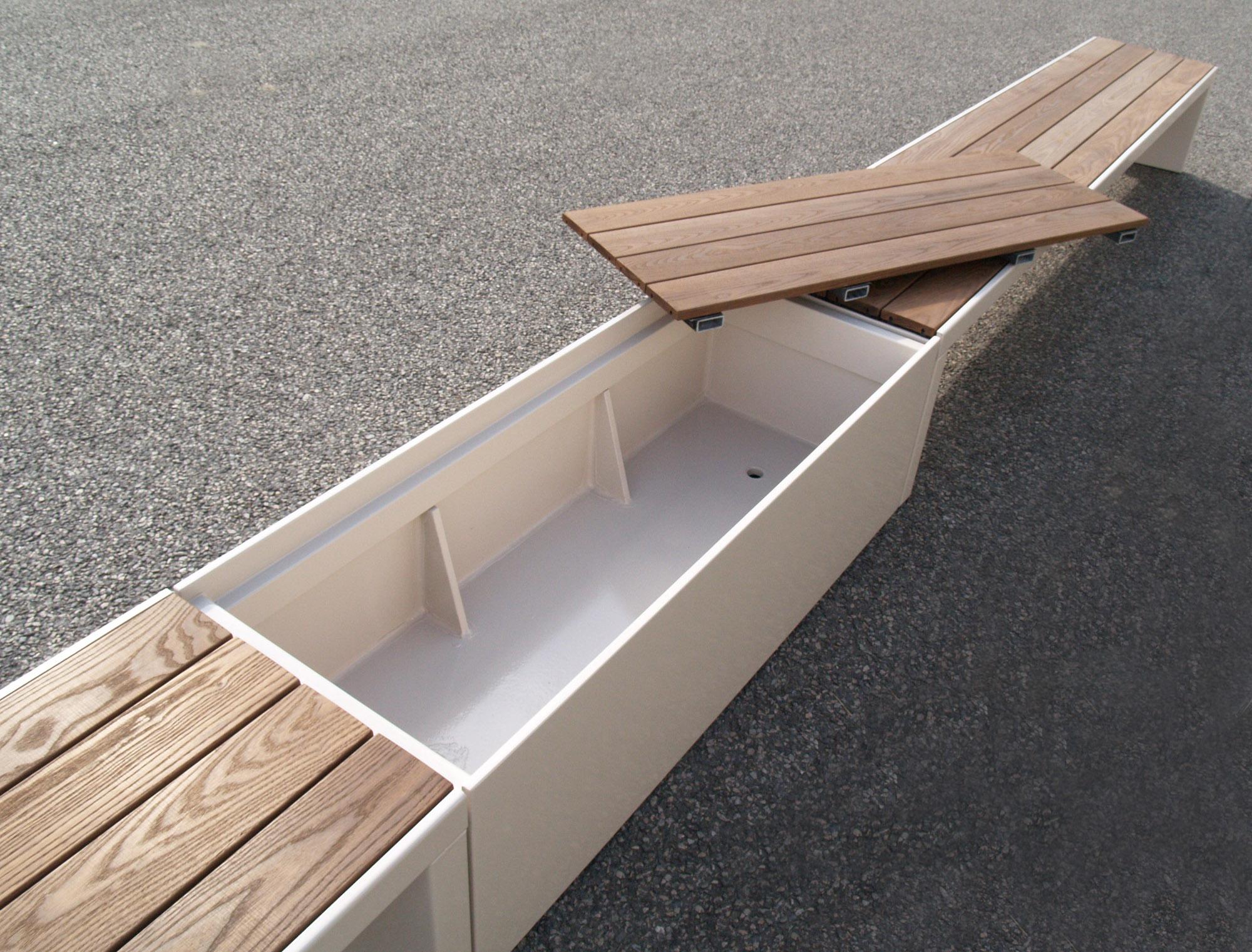 Coffre de jardin en fibre ciment IMAGE'IN - Banc et Rangement d'extérieur