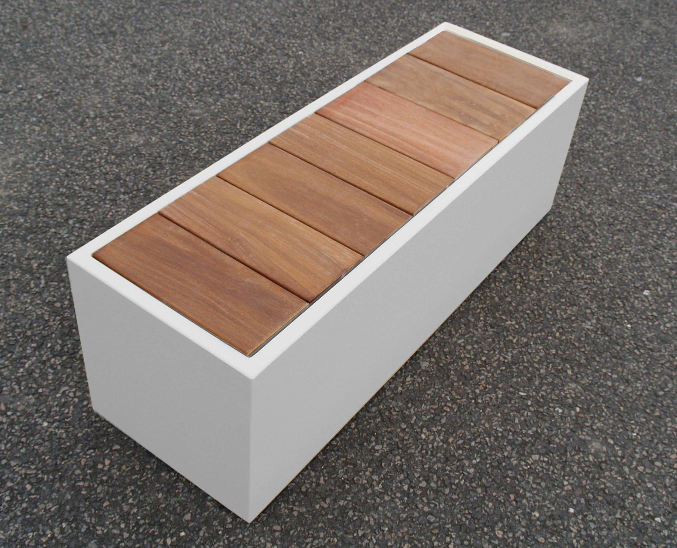 Coffre de jardin IMAGE'IN couvercle bois encastré lames transversales