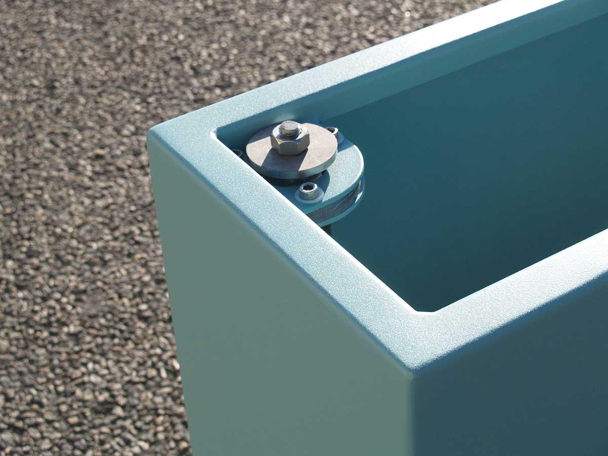Jardinière portillon sur pivot et roulette tôlerie aluminium STEELAB